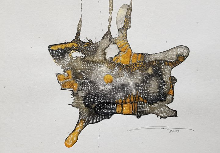 """Drawing titled """"Petit monde d'or. S…"""" by Laura Potet, Original Art, Ink"""