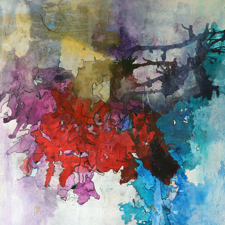 """Painting titled """"Magma 02"""" by Alexia Lavanchy, Original Art, Acrylic Mounted on Stretcher frame"""
