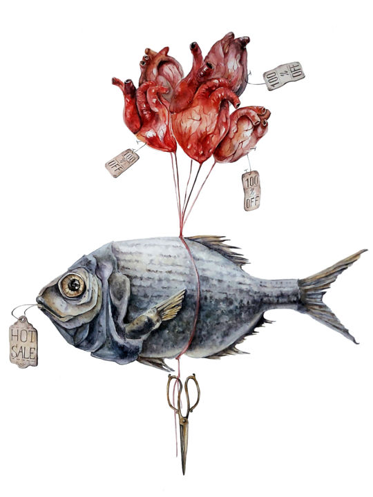 Fish Painting, watercolor, illustration, artwork by Ingaside