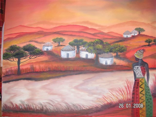meine Heimat Afrika - Painting,  60x50 cm ©2011 by ingemalt -                            Abstract Art, Landschaft, Natur, Afrika, Bild