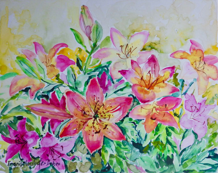 """Painting titled """"Lilies"""" by Ingrid Dohm, Original Art, Watercolor"""