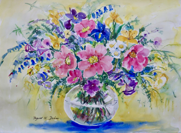 """Painting titled """"Pink and Blue"""" by Ingrid Dohm, Original Art, Watercolor"""