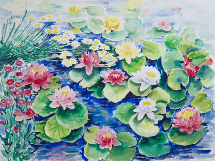 """Painting titled """"Water Lilies"""" by Ingrid Dohm, Original Art, Watercolor"""