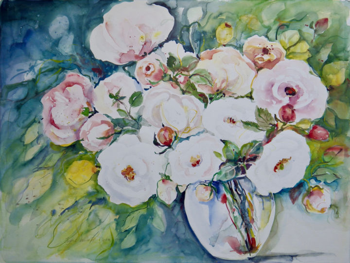 """Painting titled """"White Roses"""" by Ingrid Dohm, Original Art, Watercolor"""