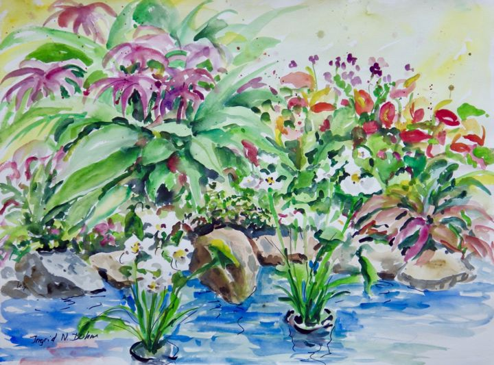 """Painting titled """"Water Garden"""" by Ingrid Dohm, Original Art, Watercolor"""