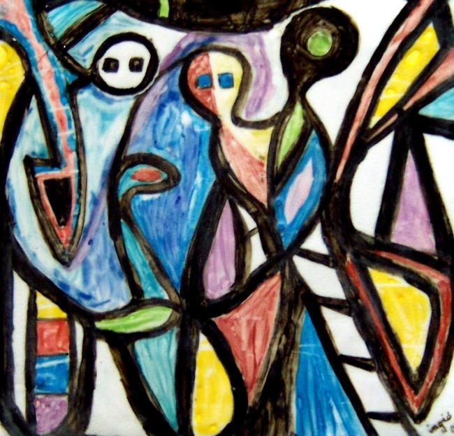 3 E.T - Painting,  15.8x19.3 in, ©2010 by Ingrid Ohayon -                                                                                                                                                                          Expressionism, expressionism-591, Peinture abstraite ( 3 E.T