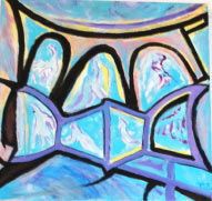 Composition en bleu - Painting, ©2011 by Ingrid Ohayon -