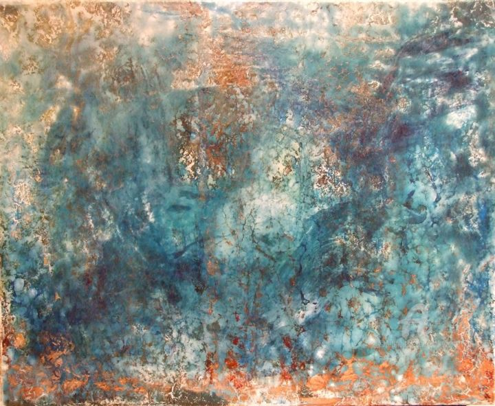 My turquoise - Painting,  60x80x2 cm ©2016 by Inka2arte -                                                        Abstract Art, Abstract Expressionism, Abstract Art, Abstract, Resin, acrylic, ink