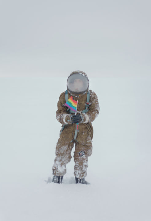 Anything - Limited Edition of 3 - Photography,  35.4x23.6 in, ©2019 by Inna Mosina -                                                                                                                                                                                                                                                                                                                                                                                                                                                                                                                                                                                                                                                                                                                                                                                                                                                                                                              Figurative, figurative-594, Heroic-Fantasy, Women, Outer Space, Nature, rainbow, rebirth, birth, snow, gender, free, spaceman, winter, russia, cosmonaut, extraterrestrial, flag, lgbt