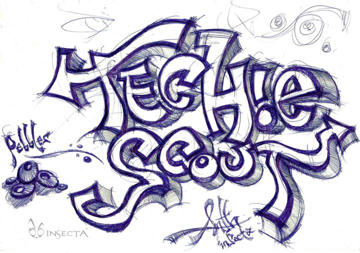 """Drawing titled """"anth-techie-scout.j…"""" by Insecta, Original Art,"""