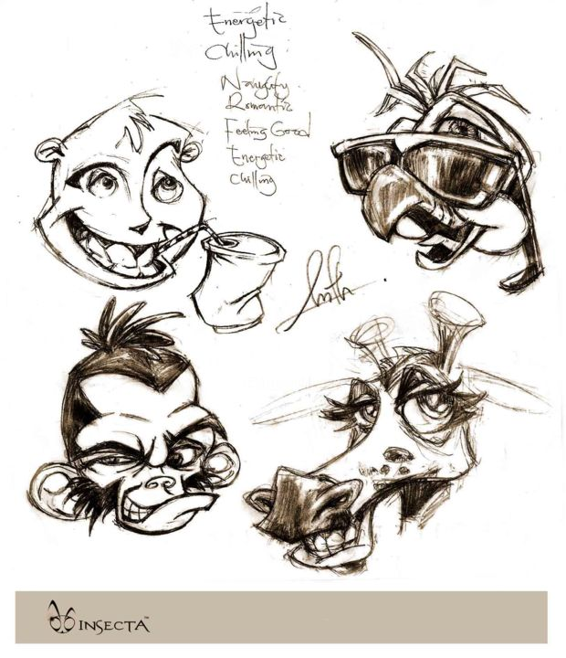 """Drawing titled """"animal-expressions2…"""" by Insecta, Original Art,"""