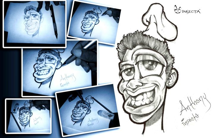 """Drawing titled """"smiling-chef-insect…"""" by Insecta, Original Art,"""