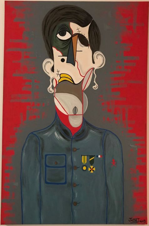 Gueule d'enfer - Painting,  45.3x29.5 in, ©2019 by David Josset -                                                                                                                                                                                                                                                                                                                                                                                                          Expressionism, expressionism-591, Body, World Culture, History, Men, People, poilus