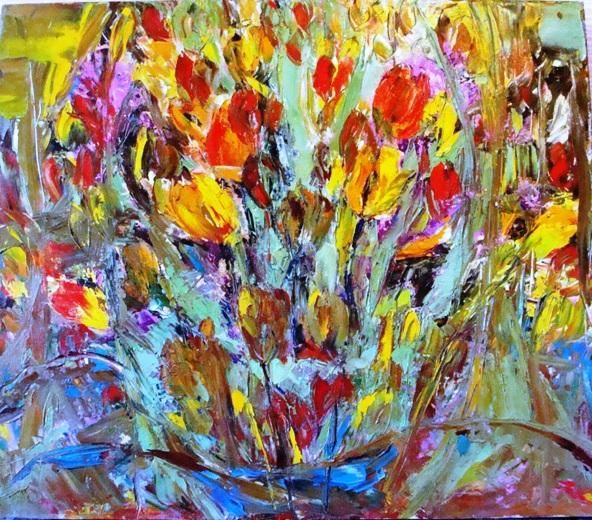 Тюльпаны - Painting,  70x60 cm ©2012 by Tana -                            Abstract Expressionism, Tulips