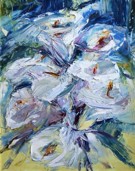 Лилии - Painting,  50x40 cm ©2010 by Tana -                            Abstract Expressionism, Flowers of the lily