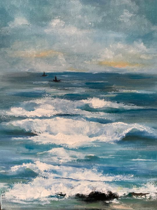 """Painting titled """"The Waves"""" by Iryna Nuhimovich, Original Art, Oil Mounted on Stretcher frame"""