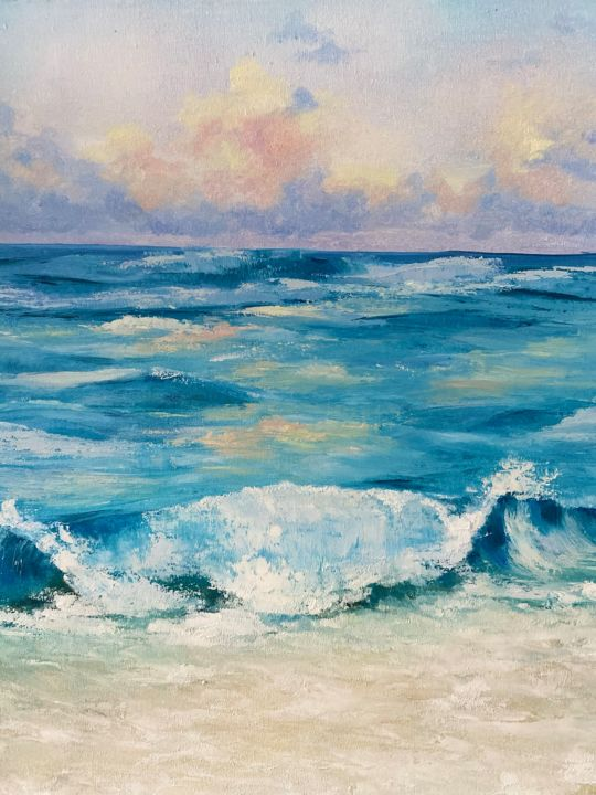 """Painting titled """"Sunrise at Sea"""" by Iryna Nuhimovich, Original Art, Oil Mounted on Stretcher frame"""