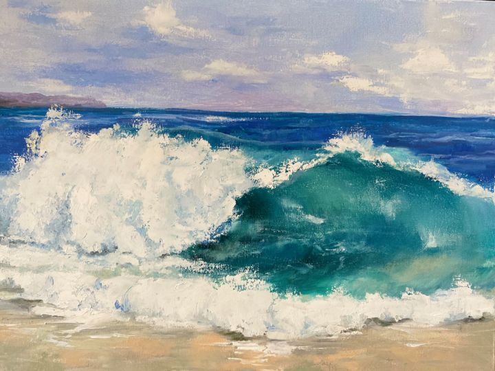 """Painting titled """"Wave"""" by Iryna Nuhimovich, Original Art, Oil Mounted on Stretcher frame"""