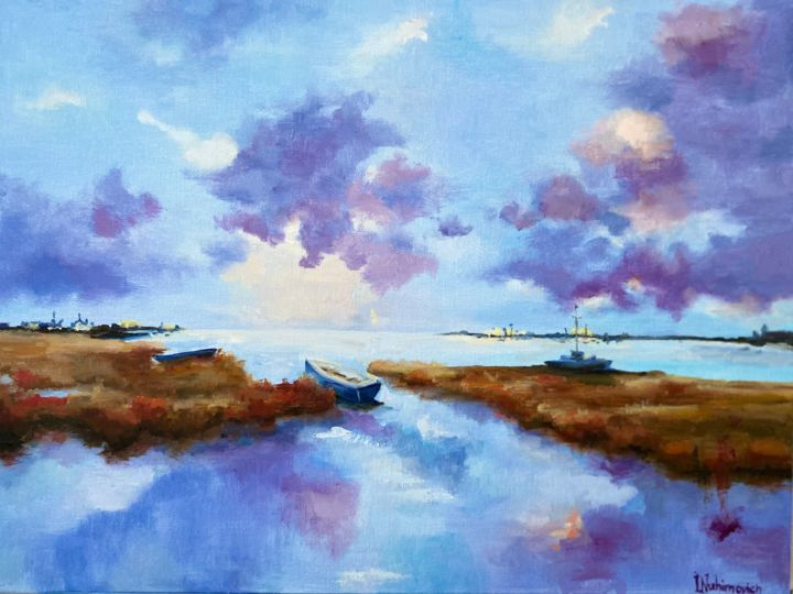 """Painting titled """"Boats"""" by Iryna Nuhimovich, Original Art, Oil Mounted on Stretcher frame"""