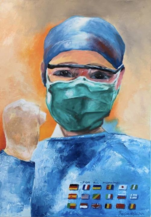 """Painting titled """"For all mankind"""" by Mihai Ionescu, Original Art, Oil Mounted on Stretcher frame"""