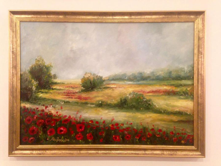 """Painting titled """"Field with red flow…"""" by Mihai Ionescu, Original Art, Oil"""