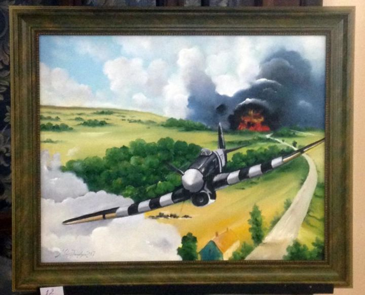 """Painting titled """"WW2 planes"""" by Mihai Ionescu, Original Art, Oil"""