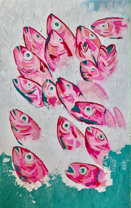 """Painting titled """"Fish Voice"""" by Victoria Purynova, Original Art, Acrylic Mounted on Stretcher frame"""