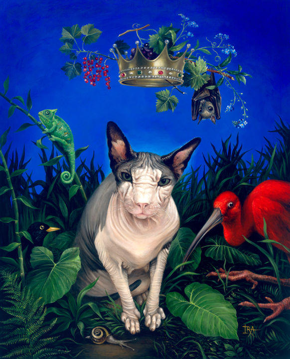 King - Painting,  70x57 cm ©2018 by Irena Aizen -                                                                                                Surrealism, Symbolism, Canvas, Animals, Birds, Cats, colorful, allegorical, buy art online, buy paintings online