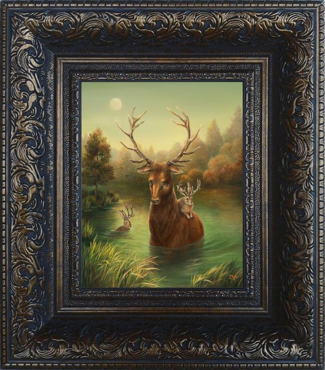Autumn. Framed Print on canvas - Printmaking,  16.7x14.8 in, ©2020 by Irena Aizen -                                                                                                                                                                          Surrealism, surrealism-627, Animals