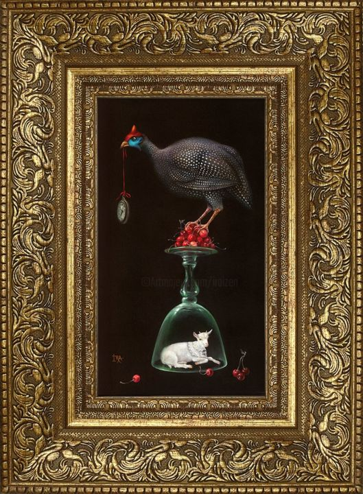 Pyramid with Cherries. Framed Print on canvas - Printmaking,  18.5x13.8x2 in, ©2020 by Irena Aizen -                                                                                                                                                                          Surrealism, surrealism-627, Still life