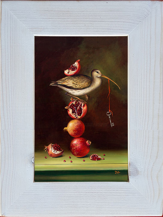 Pyramid with Pomegranates - Printmaking,  9.8x7.5 in, ©2020 by Irena Aizen -                                                                                                                                                                          Surrealism, surrealism-627, Animals
