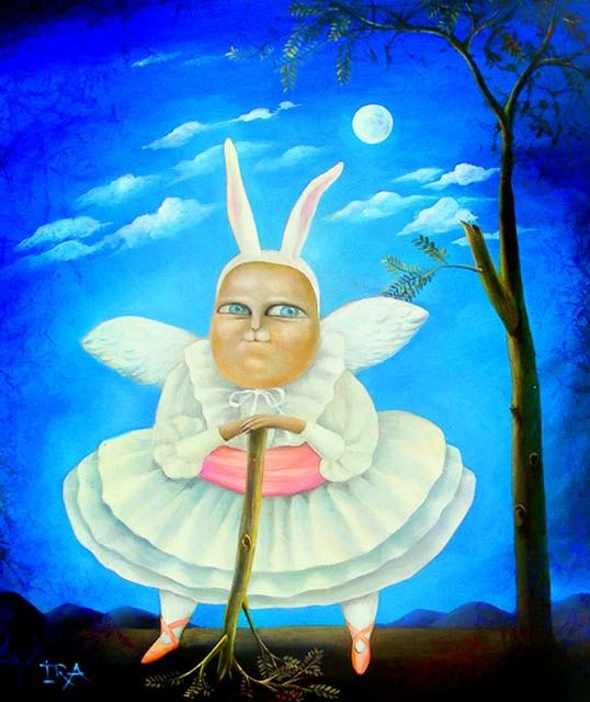 Moons fantasy - Painting,  33.5x26.4 in, ©2008 by Irena Aizen -                                                                                                                                                                          Surrealism, surrealism-627, emotional acrylic animal art bunny cat bird canvas characters colorful contemporary fantasy figurative large modern painting portrait psycho rabbit surreal humor love romantic unicorn mermaid angel