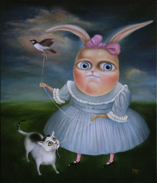State of mind - Painting,  23.6x19.7 in, ©2008 by Irena Aizen -                                                                                                                                                                          Surrealism, surrealism-627, emotional acrylic animal art bunny cat bird canvas characters colorful contemporary fantasy figurative large modern painting portrait psycho rabbit surreal humor love romantic unicorn mermaid angel
