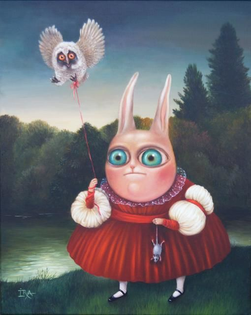 Everything for You - Painting,  19.7x15.8 in, ©2009 by Irena Aizen -                                                                                                                                                                                                                                                                                                                                                                                                                                                                                                                                                                                                                                                                                                                                                                                                                                                                                                                                                                                                                                              Surrealism, surrealism-627, emotional, acrylic, animal, art, bunny, canvas, characters, colorful, contemporary, fantasy, figurative, large, painting, portrait, psycho, rabbit, surreal, humor, love, romantic