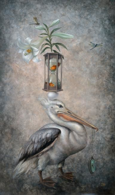 Pyramid with Pelican-2 - Painting,  42.5x25.2 in, ©2011 by Irena Aizen -                                                                                                                                                                                                                                                                                                                                                                                                                                                                                                                                                                                                                                                                                                                                                                                                                                                                                                                                                                                                                                                                                                                                          Surrealism, surrealism-627, Animals, Flower, acrylic, allegorical, Art For Sale, art, Buy Art Online Buy Paintings Online, canvas, characters, colorful, emotional, fantasy, figurative, humor, large, love, naive, painting, portrait, psycho, romantic, surreal