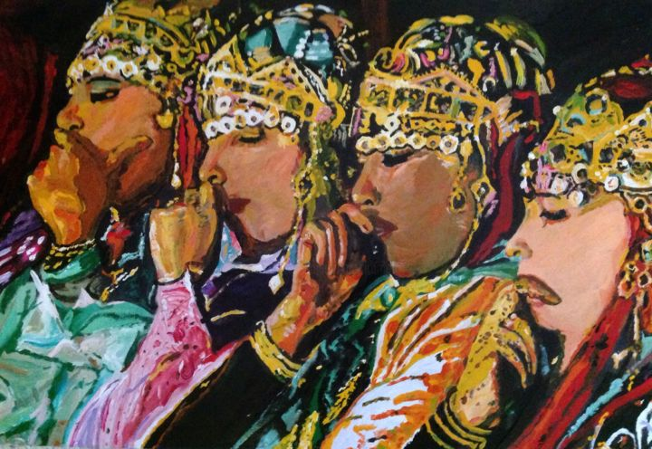 Moroccan folk - Painting,  4x78x90 cm ©2014 by Iraqi mohammed rachid -                                                            Abstract Expressionism, Canvas, Performing Arts, Folklore, marocain, marocaine, danse, ouerzazate, Ahouache, danseuses, folk, chorale, berbères, amazigh, ahwach, iraqi mohammed rachid, fes, fez