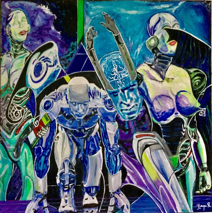 Robots - Painting,  90x90 cm ©2016 by Iraqi mohammed rachid -                                                                        Abstract Art, Canvas, Men, Science, robots, humanoides, humains, competition, nouveau monde, progres, evolution