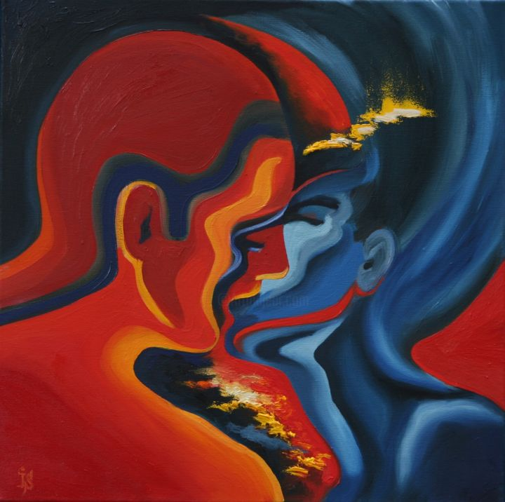 Harmony of passion - Painting,  17.7x17.7x0.5 in, ©2007 by Irina Sergeyeva -                                                                                                                                                                                                                                                  Love / Romance, Red, blue, love, passion