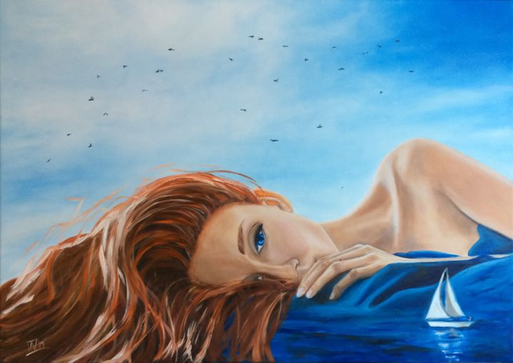 Day-dream - Painting,  50x70x1.8 cm ©2019 by Ira Whittaker -                                                                                                Figurative Art, Surrealism, Canvas, Fantasy, Love / Romance, Women, oil painting, gift art, canvas, surrealism, woman, sea, seagulls, boat