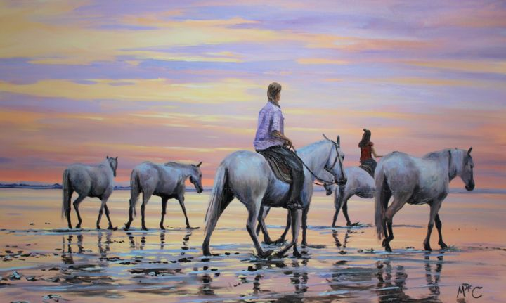 """Painting titled """"Connemara Ponies on…"""" by Martin Mc Cormack, Original Art, Oil Mounted on Stretcher frame"""
