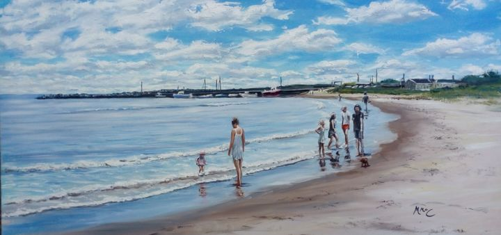 """Painting titled """"Carne Beach, Wexfor…"""" by Martin Mc Cormack, Original Art, Oil Mounted on Stretcher frame"""