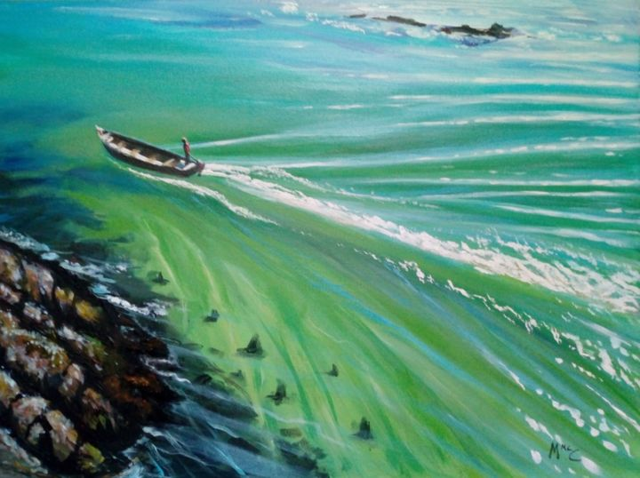 """Painting titled """"Boatman"""" by Martin Mc Cormack, Original Art, Acrylic Mounted on Stretcher frame"""