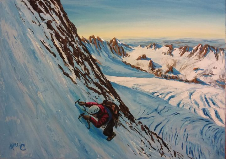 """Painting titled """"Mountain Climber on…"""" by Martin Mc Cormack, Original Art, Acrylic Mounted on Stretcher frame"""