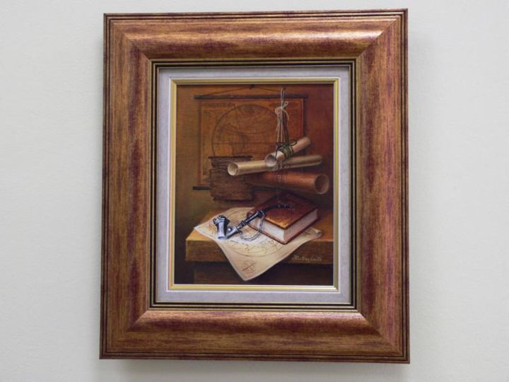 """Painting titled """"still life with maps"""" by Irena Lutinskaite, Original Art,"""