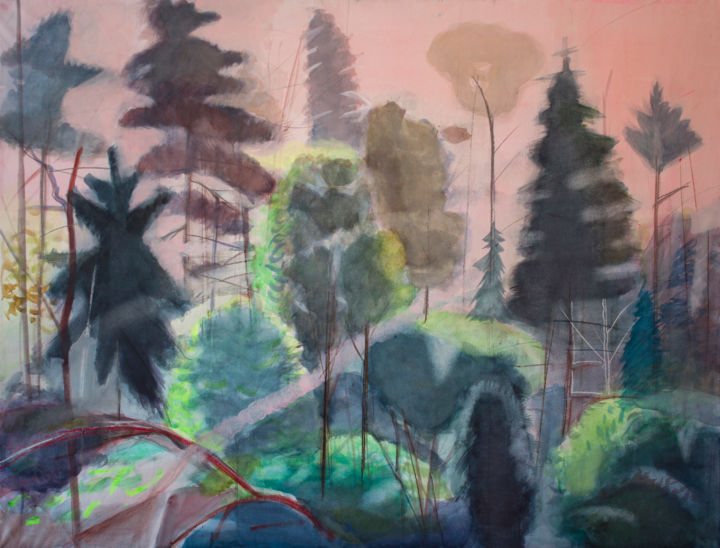 Morning in the forest - Painting,  85x110 cm ©2017 by Irena Luse -                        Paper