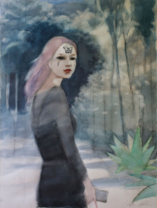 Painting, watercolor, figurative, artwork by Irena Luse