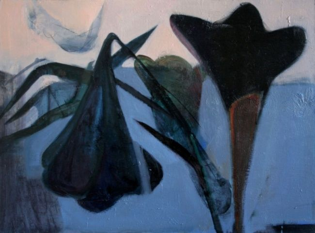 Black flowers - Painting,  23.6x31.5 in, ©2007 by Irena Luse -