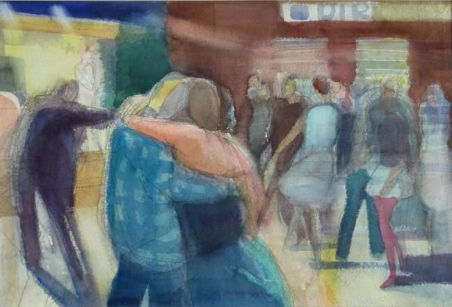City fest - Painting,  14.2x20.9 in, ©2012 by Irena Luse -