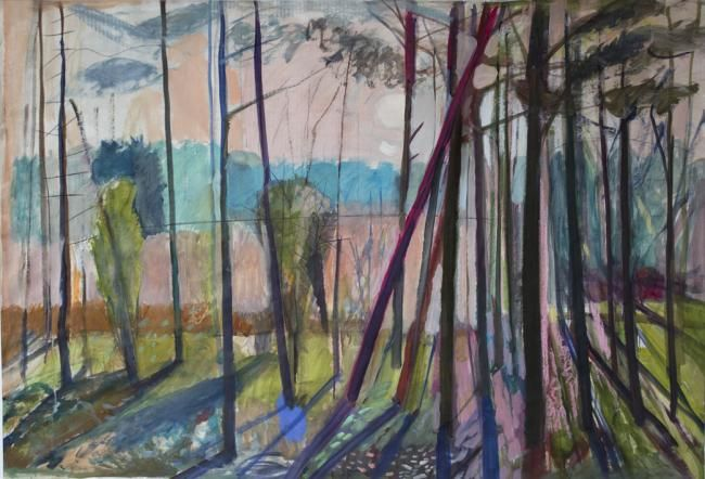 Forest edge - Painting,  105x80 cm ©2012 by Irena Luse -