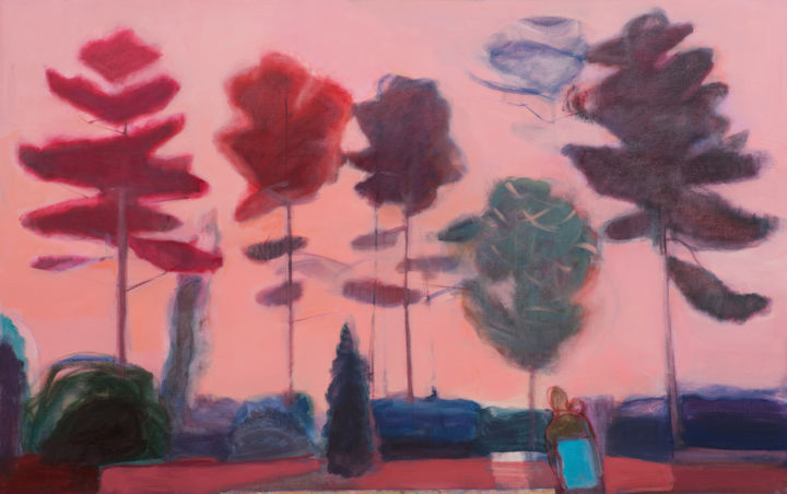 Evening walk - Painting,  3x115x70 cm ©2015 by Irena Luse -                                        Canvas, Nature